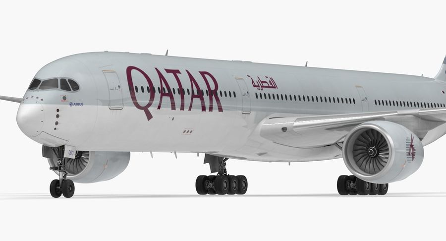 Airbus A350-1000 Qatar royalty-free 3d model - Preview no. 13