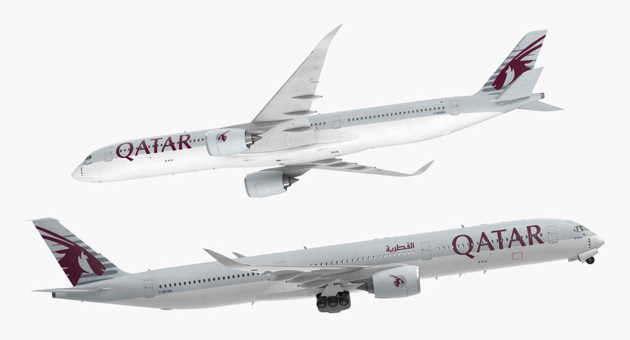 Airbus A350-1000 Qatar royalty-free 3d model - Preview no. 8