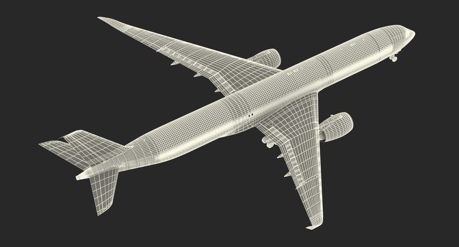 Airbus A350-1000 Qatar royalty-free 3d model - Preview no. 27