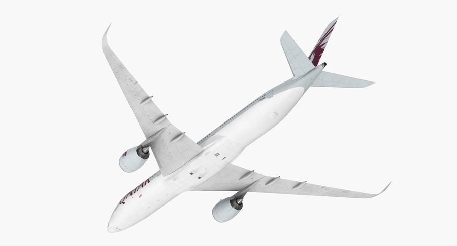 Airbus A350-1000 Qatar royalty-free 3d model - Preview no. 11