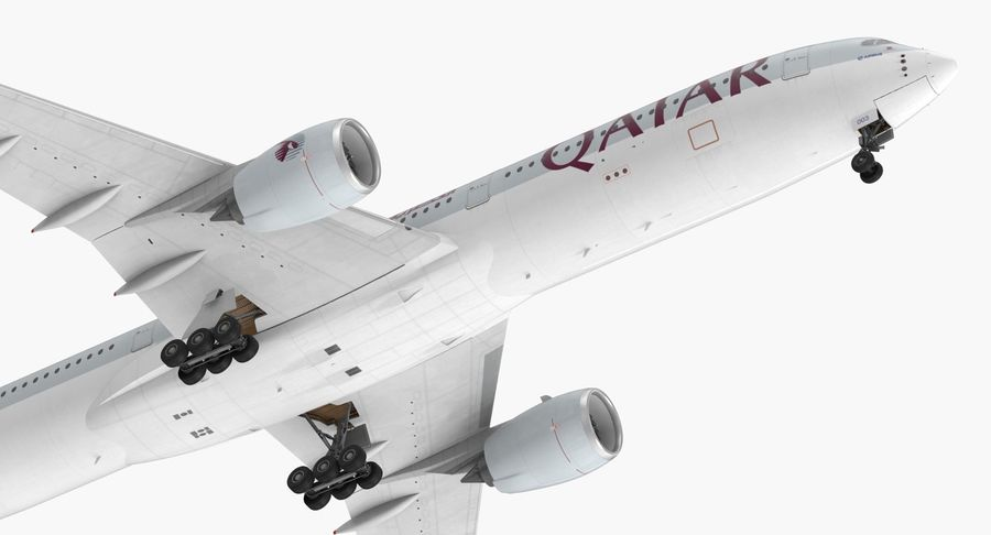 Airbus A350-1000 Qatar royalty-free 3d model - Preview no. 15