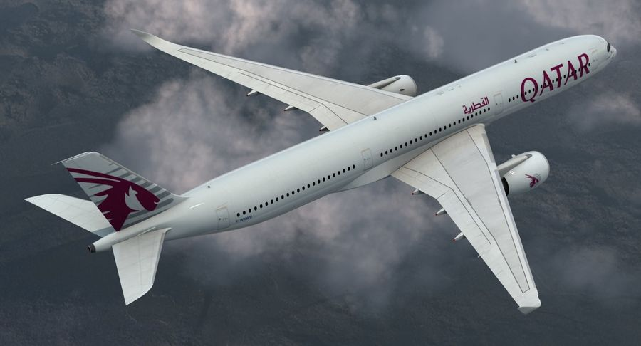 Airbus A350-1000 Qatar royalty-free 3d model - Preview no. 4