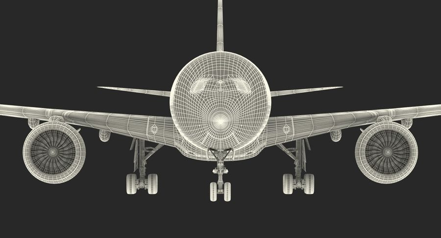 Airbus A350-1000 Qatar royalty-free 3d model - Preview no. 29