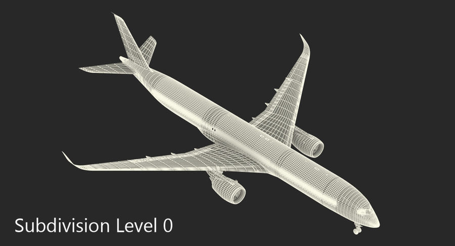 Airbus A350-1000 Qatar royalty-free 3d model - Preview no. 19