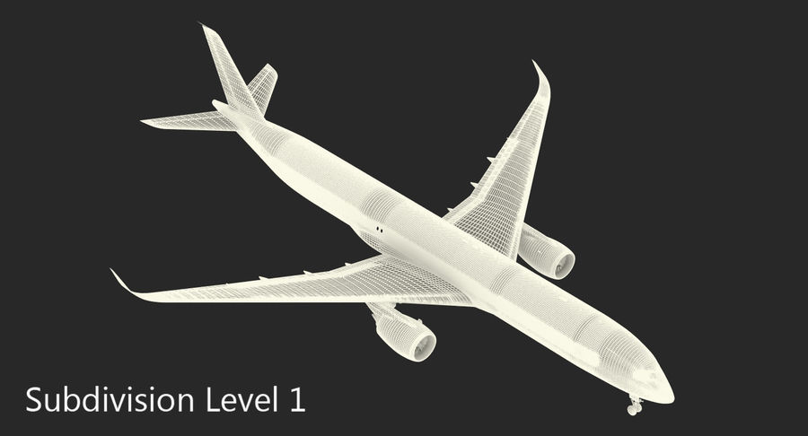 Airbus A350-1000 Qatar royalty-free 3d model - Preview no. 20