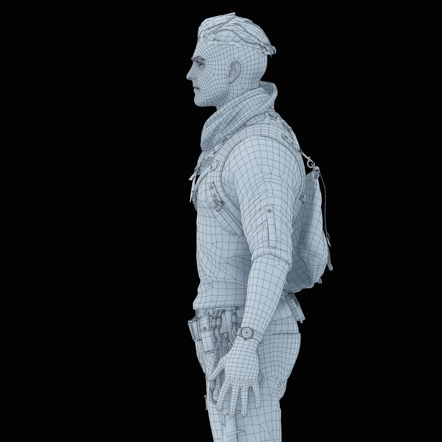 Hero Soldier royalty-free 3d model - Preview no. 39