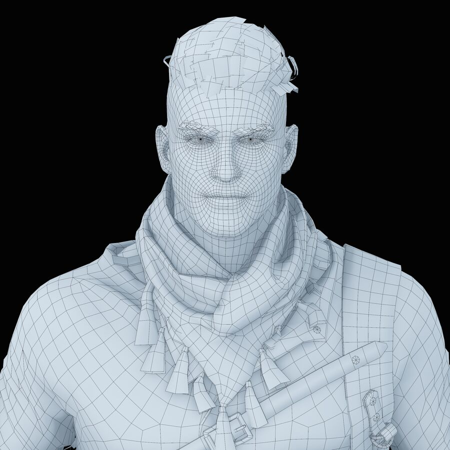Hero Soldier royalty-free 3d model - Preview no. 34