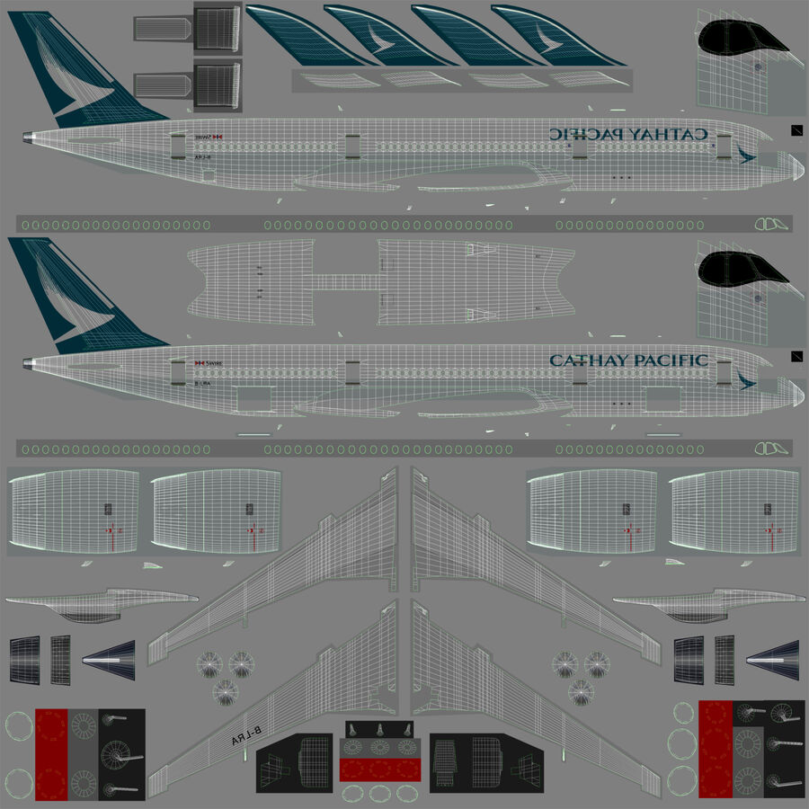 A350-900 - Cathay Pacific royalty-free 3d model - Preview no. 22