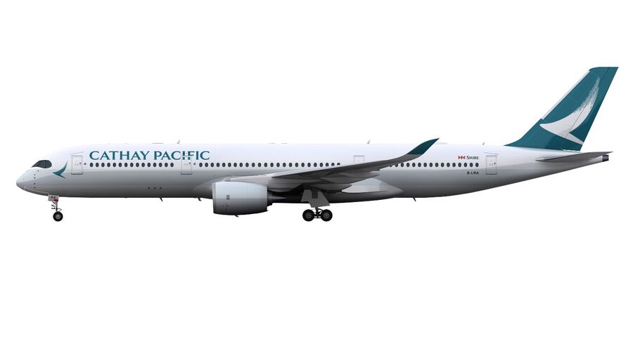 A350-900 - Cathay Pacific royalty-free 3d model - Preview no. 14