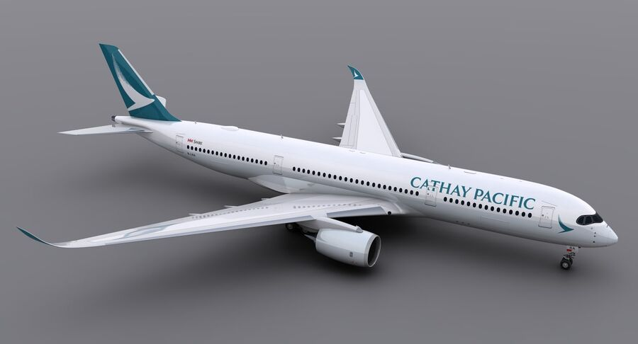 A350-900 - Cathay Pacific royalty-free 3d model - Preview no. 3
