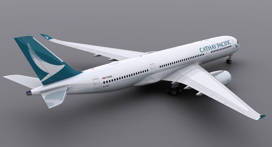 A350-900 - Cathay Pacific royalty-free 3d model - Preview no. 4