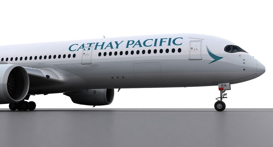 A350-900 - Cathay Pacific royalty-free 3d model - Preview no. 10