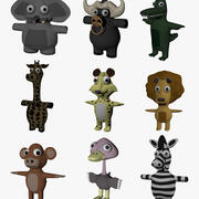 Funny Cartoon Exotic Animals Collection 3d model