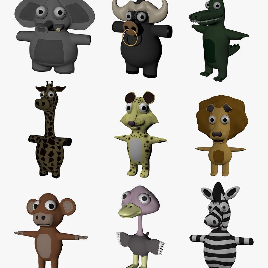 面白い漫画のエキゾチックな動物のコレクション royalty-free 3d model - Preview no. 1