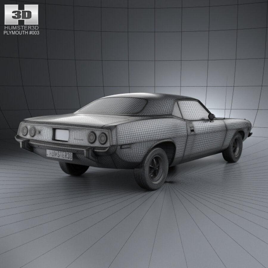 Жесткая крыша Plymouth Barracuda 1974 royalty-free 3d model - Preview no. 4