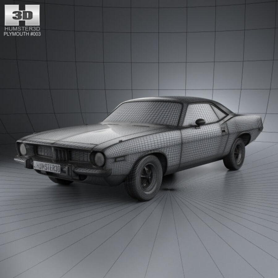 Жесткая крыша Plymouth Barracuda 1974 royalty-free 3d model - Preview no. 3