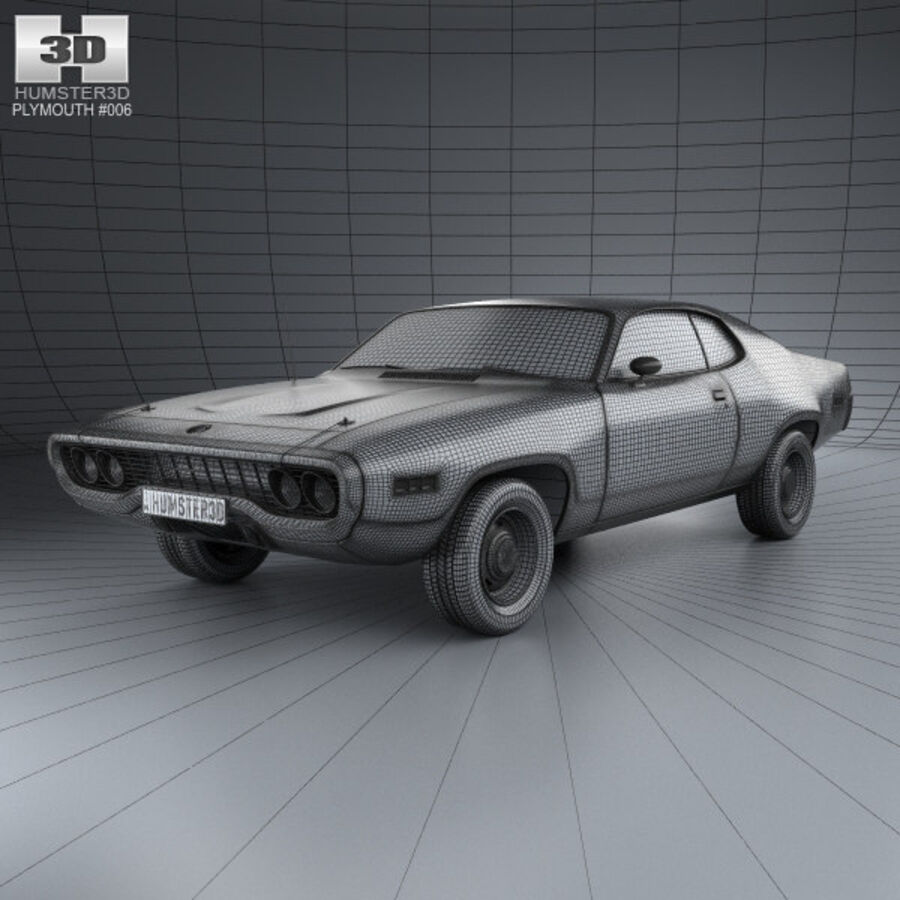 Plymouth Satellite 1971 royalty-free 3d model - Preview no. 3