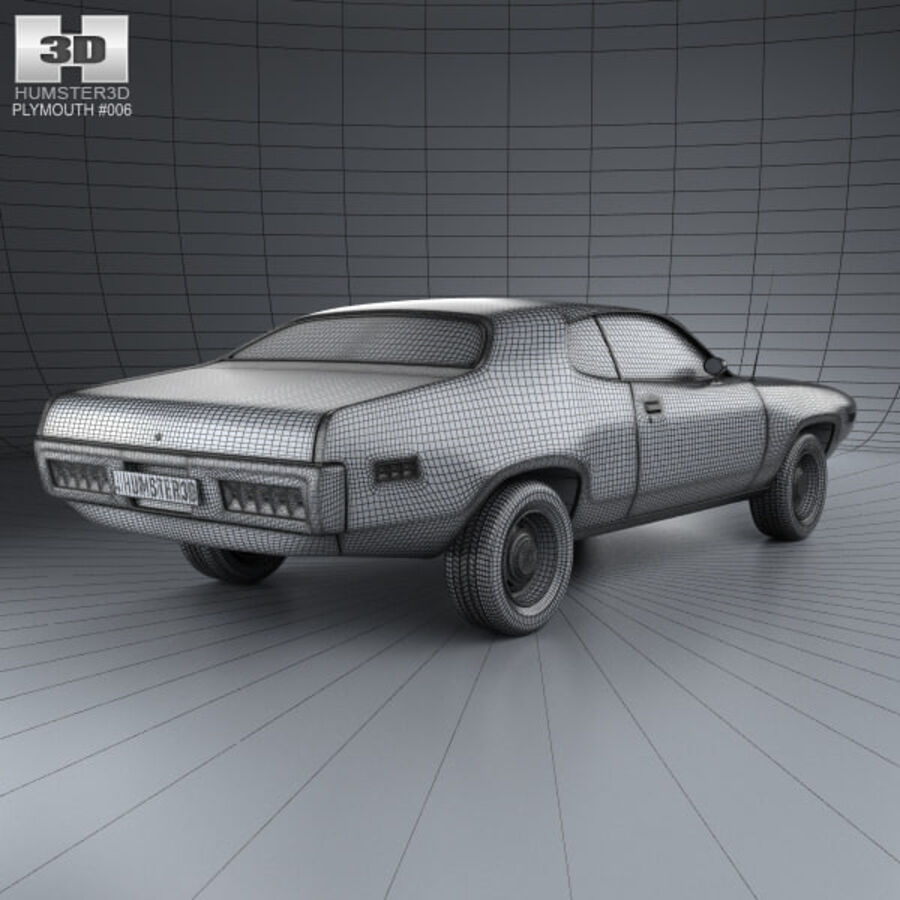 Plymouth Satellite 1971 royalty-free 3d model - Preview no. 4