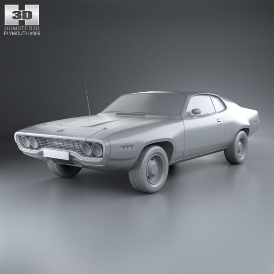 Plymouth Satellite 1971 royalty-free 3d model - Preview no. 11