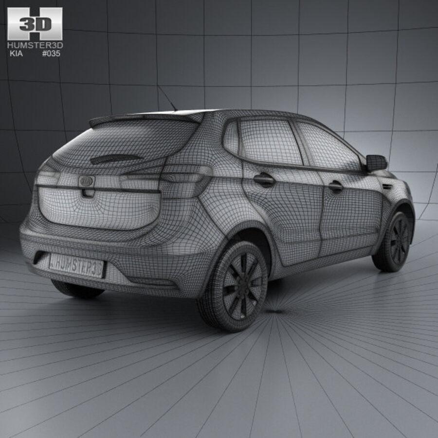 Kia Rio (K2) hatchback 5-drzwiowy 2012 royalty-free 3d model - Preview no. 4