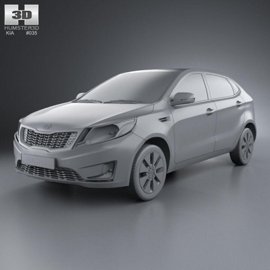 Kia Rio (K2) hatchback 5-drzwiowy 2012 royalty-free 3d model - Preview no. 8