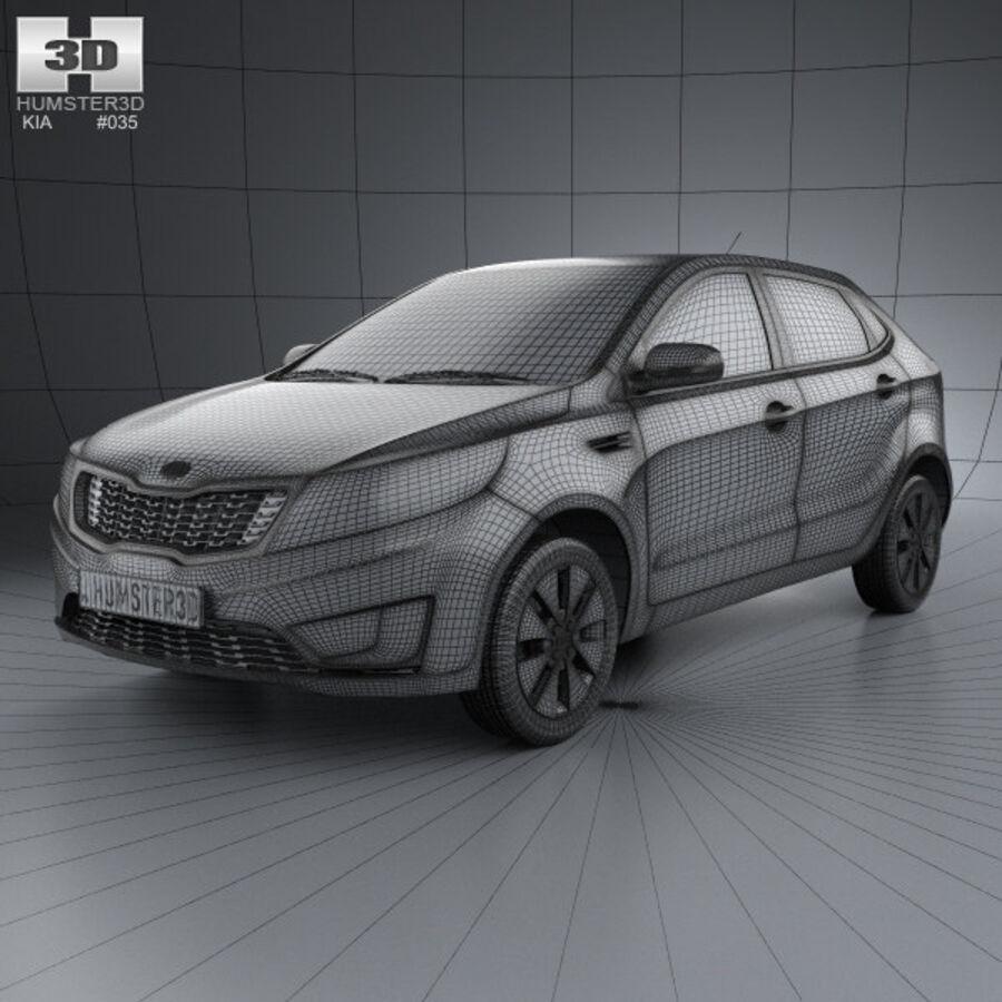 Kia Rio (K2) hatchback 5-drzwiowy 2012 royalty-free 3d model - Preview no. 3