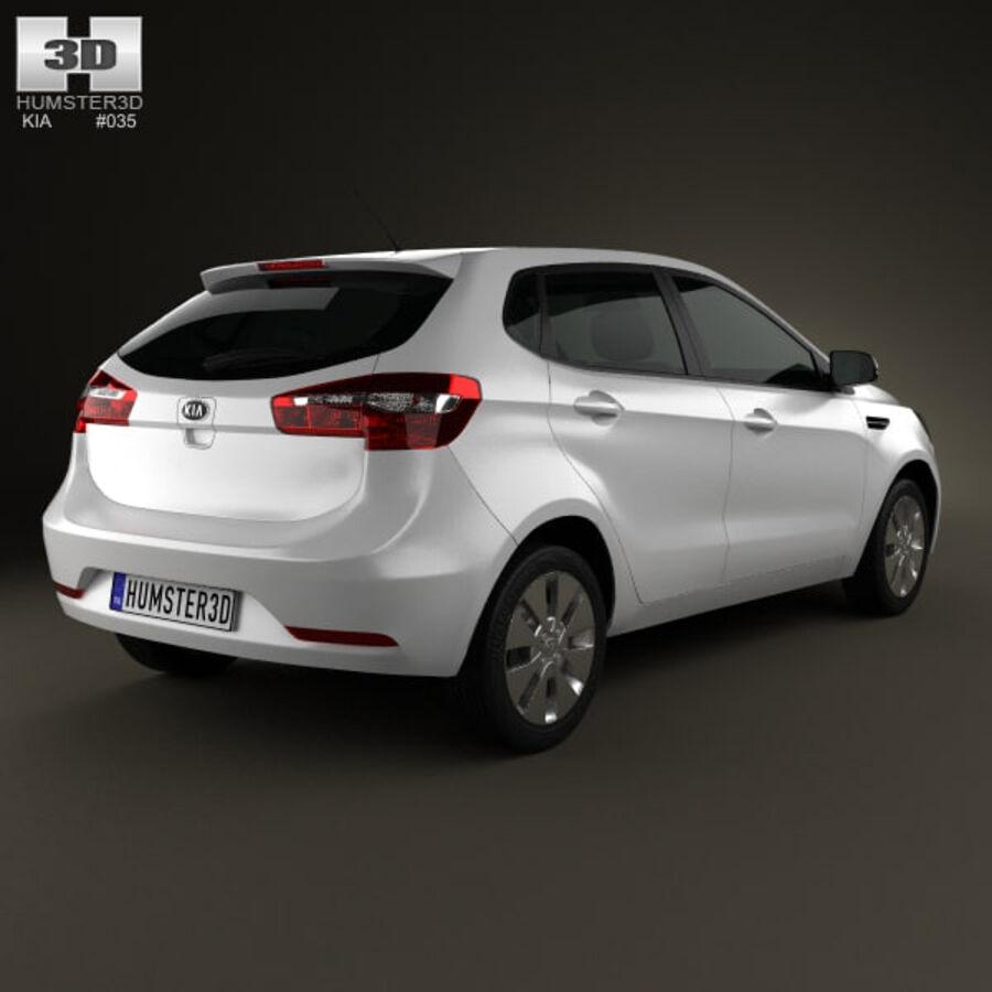 Kia Rio (K2) hatchback 5-drzwiowy 2012 royalty-free 3d model - Preview no. 2