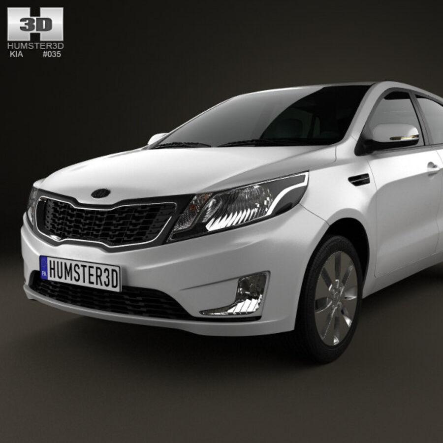 Kia Rio (K2) hatchback 5-drzwiowy 2012 royalty-free 3d model - Preview no. 6