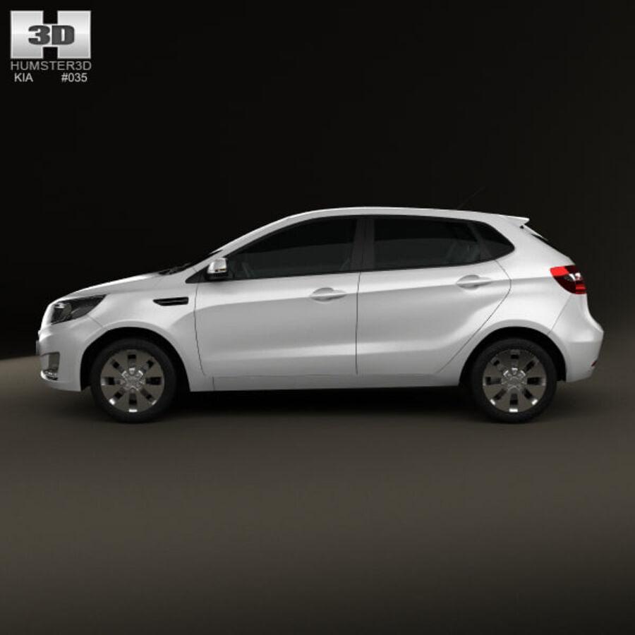 Kia Rio (K2) hatchback 5-drzwiowy 2012 royalty-free 3d model - Preview no. 5