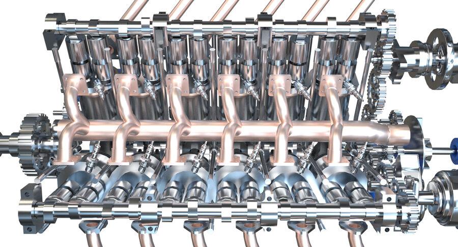 Авиационный двигатель V12 royalty-free 3d model - Preview no. 10