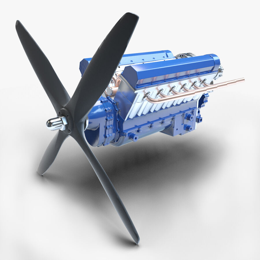 Авиационный двигатель V12 royalty-free 3d model - Preview no. 1