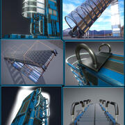 Sci-Fi Ladders and Stairs Blue 3d model