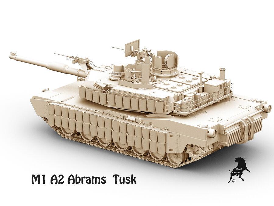 M-1 A2 Abrams Tusk royalty-free 3d model - Preview no. 6