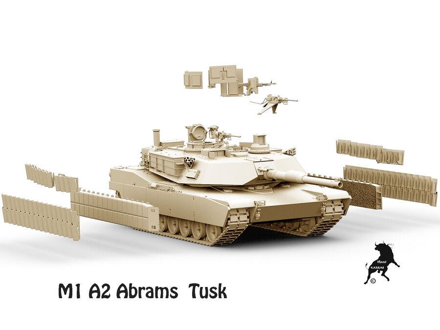 M-1 A2 Abrams Tusk royalty-free 3d model - Preview no. 12