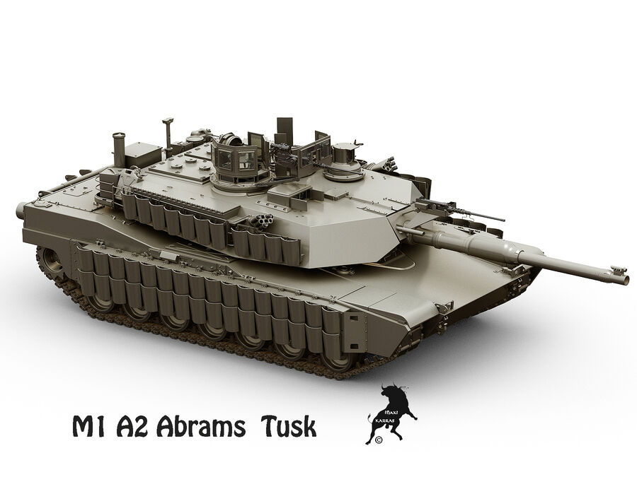 M-1 A2 Abrams Tusk royalty-free 3d model - Preview no. 3