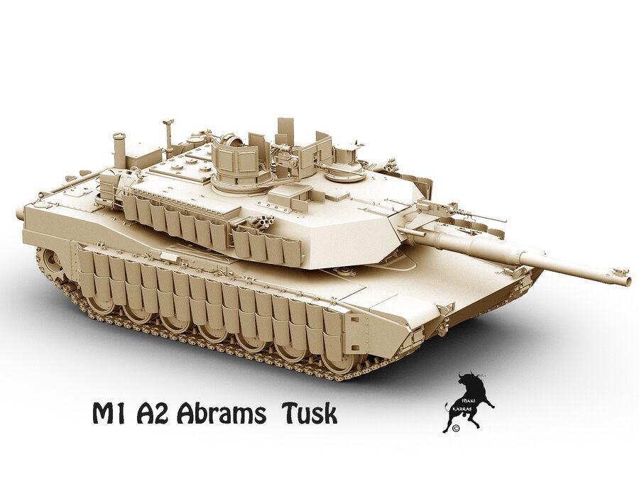 M-1 A2 Abrams Tusk royalty-free 3d model - Preview no. 2
