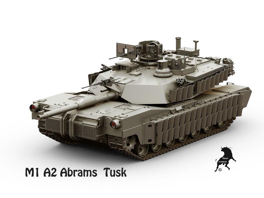 M-1 A2 Abrams Tusk royalty-free 3d model - Preview no. 11