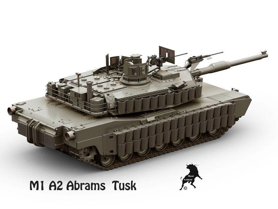 M-1 A2 Abrams Tusk royalty-free 3d model - Preview no. 5