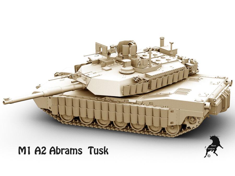 M-1 A2 Abrams Tusk royalty-free 3d model - Preview no. 8