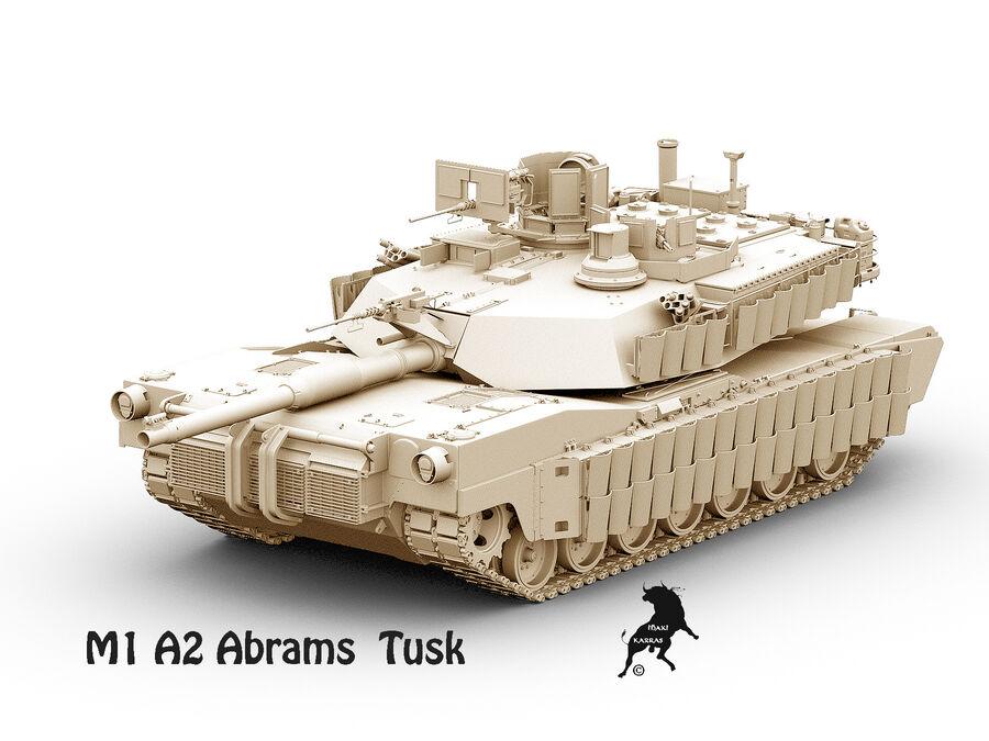 M-1 A2 Abrams Tusk royalty-free 3d model - Preview no. 10
