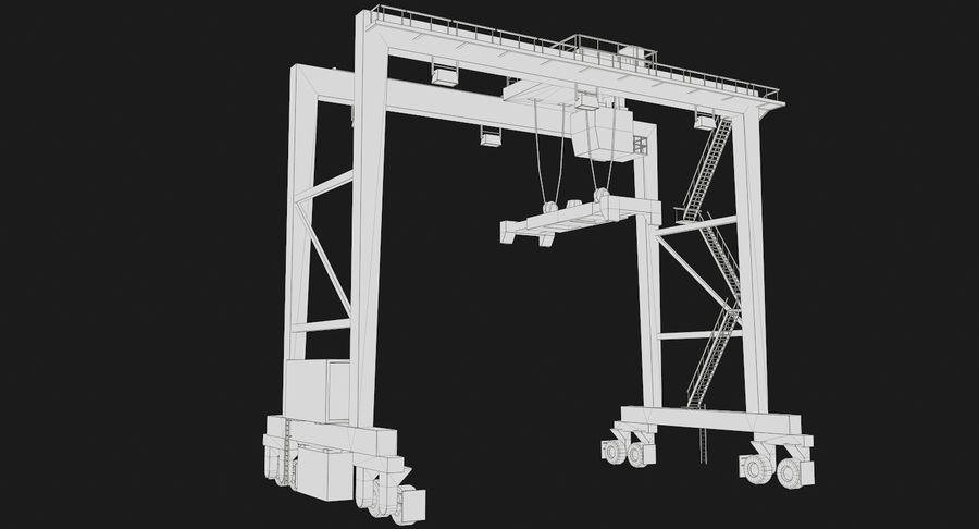 Gantry Crane RTG Low Poly royalty-free 3d model - Preview no. 1