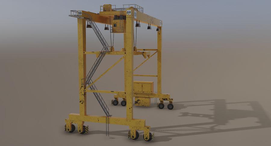 Gantry Crane RTG Low Poly royalty-free 3d model - Preview no. 9
