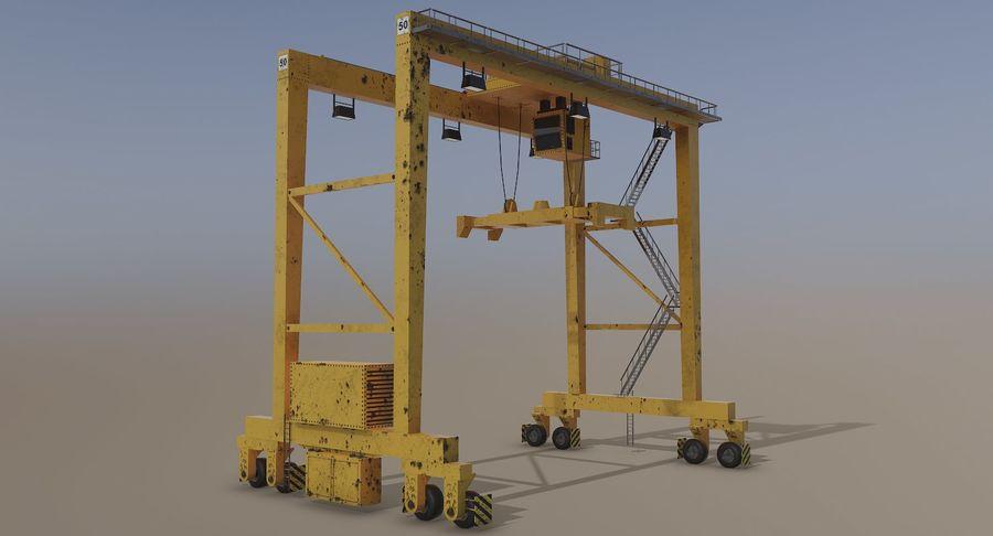 Gantry Crane RTG Low Poly royalty-free 3d model - Preview no. 2