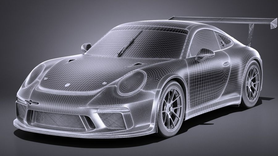 Porsche 911 GT3 Cup 2017 royalty-free 3d model - Preview no. 13