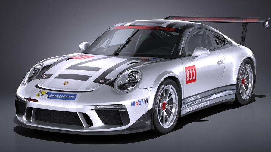 Porsche 911 GT3 Cup 2017 royalty-free 3d model - Preview no. 1