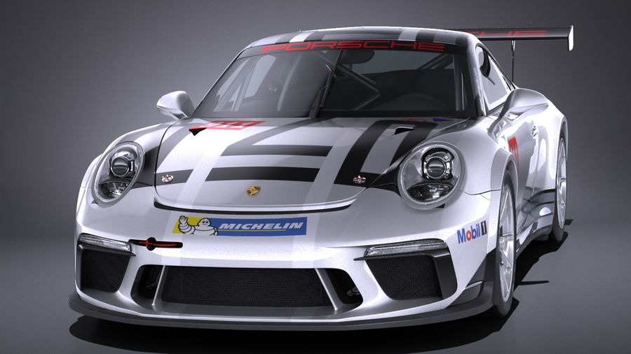 Porsche 911 GT3 Cup 2017 royalty-free 3d model - Preview no. 2