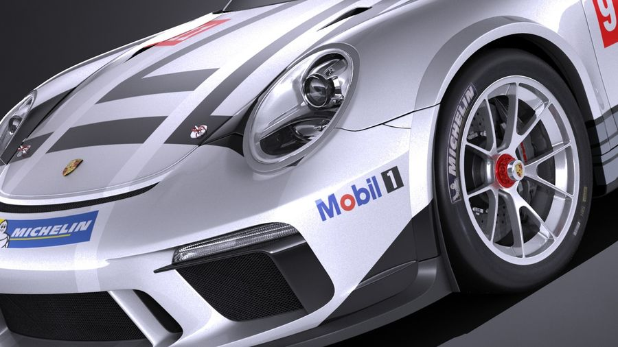 Porsche 911 GT3 Cup 2017 royalty-free 3d model - Preview no. 3