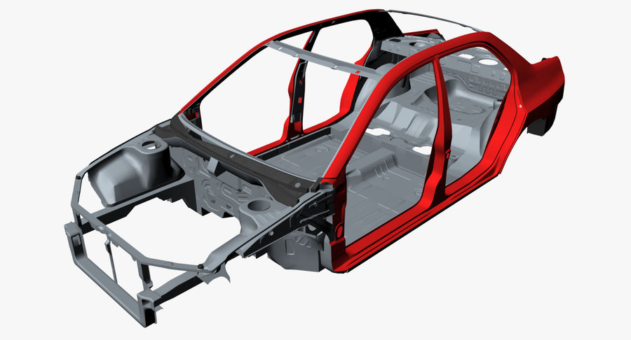 Car Frame royalty-free 3d model - Preview no. 6