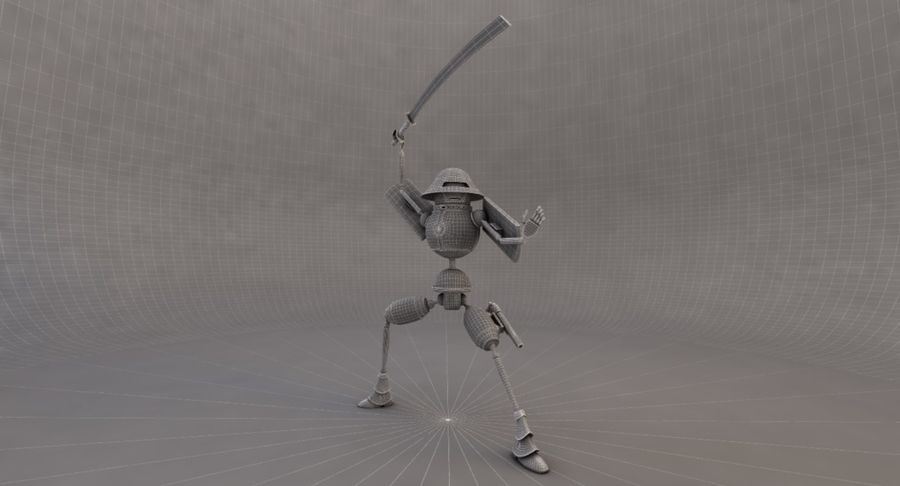SciFi Robot 11 - Militärischer Kampfroboter royalty-free 3d model - Preview no. 9