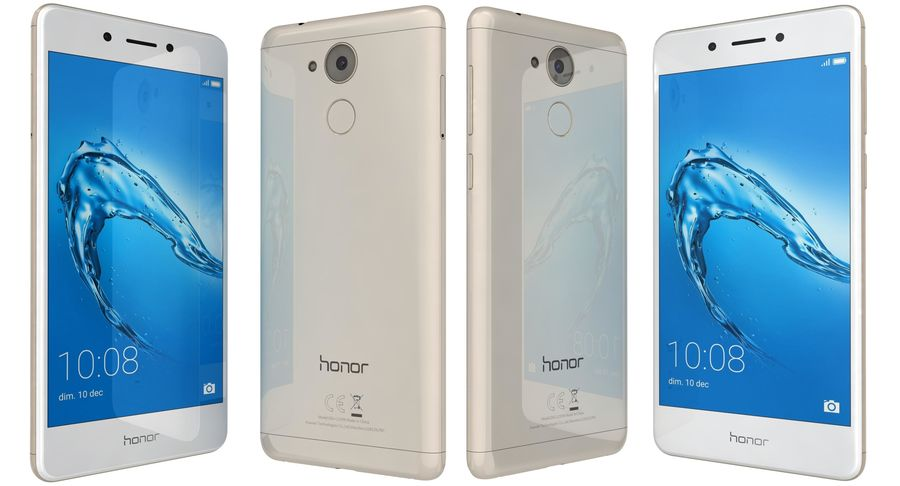 Huawei Honor 6C Gold royalty-free 3d model - Preview no. 3